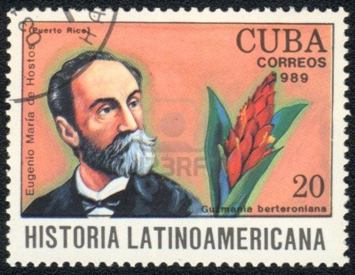 10946339-cuba--circa-1989-a-stamp-printed-in-cuba-shows-a-guzmania-and-eugenio-maria-de-hostos-series-histori